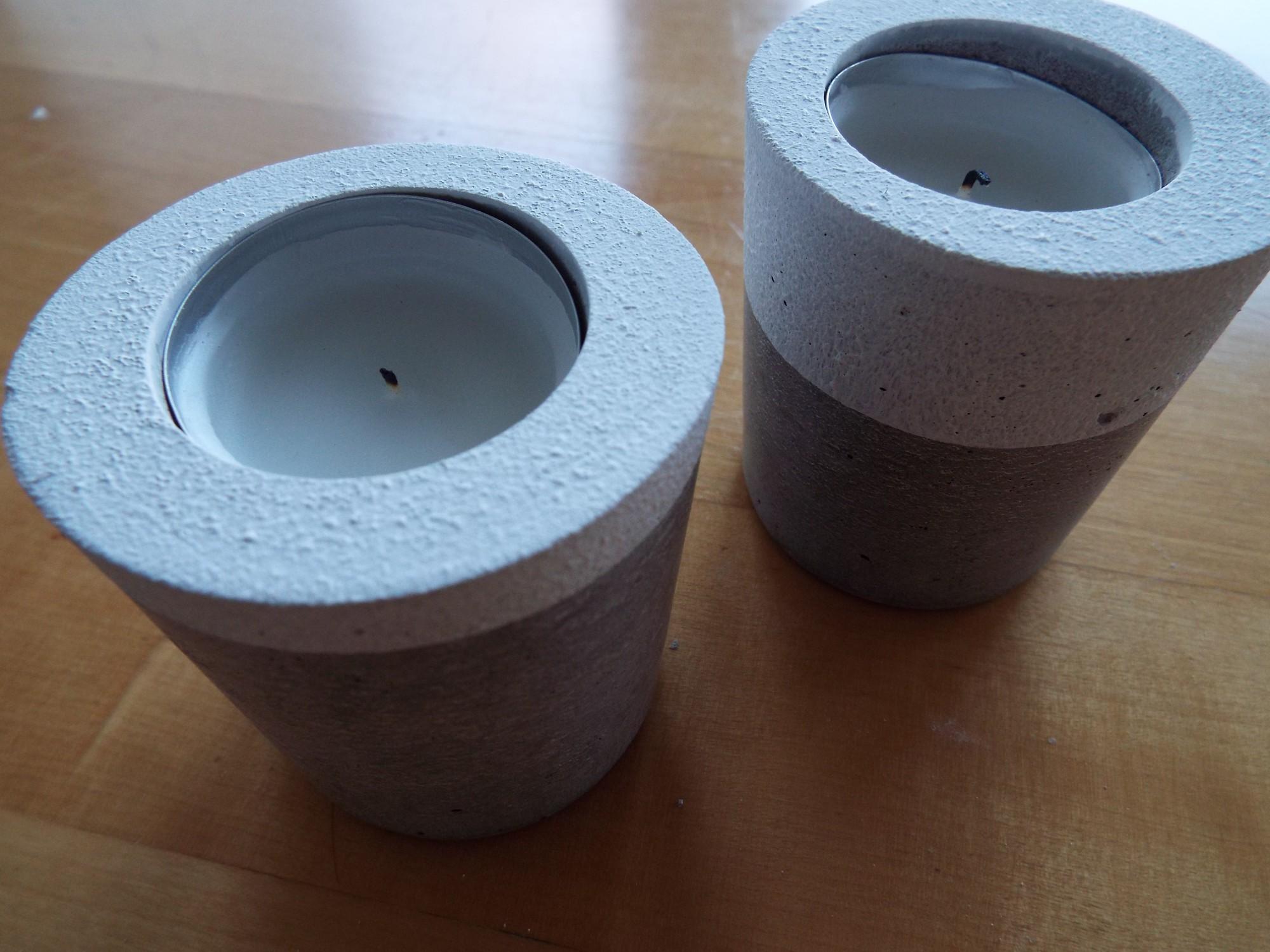 dekorative Kerzenhalter aus Beton