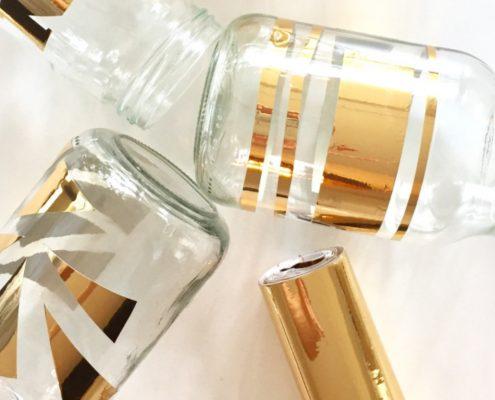 DIY Einmachgläser mit Deko Folie (c) milleschoses