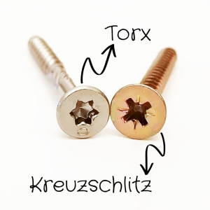 Torx und Kreuzschlitz Schraube