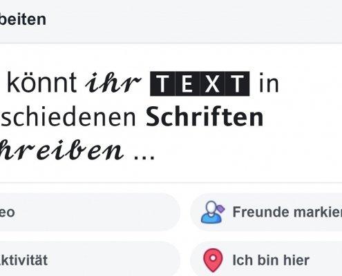 Facebook Tipp: Text fett und in anderen Schriften schreiben